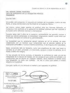Héctor Serrano deja la SEMOVI y se va con Mancera